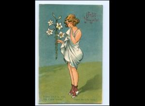 XX10179/ Halt gegen Licht AK Neujahr Frau und Amor Litho ca.1925