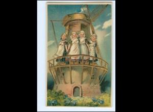 XX009813/ Neujahr Windmühle Srčno voščilo k novemu letu Litho Präge Ak ca.1910