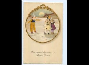 XX006780/ Neujahr Kinder als Pierrot Litho AK 1928/