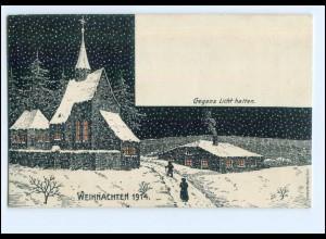 XX10180/ Halt gegen Licht Weihnachten 1914 3 Soldaten u.d. Weihnachtsbaum AK