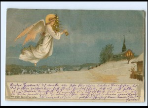 XX14775/ Halt gegen Licht Weihnachten Engel Litho AK 1899