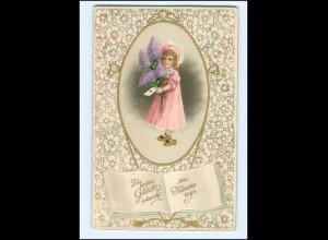 XX006429/ Namenstag Mädchen mit Blumen Litho Präge AK ca.1910