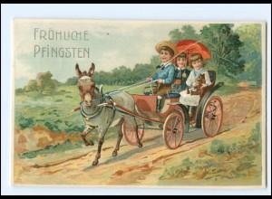 XX006579/ Pfingsten Esel Kutsche 1910 Litho Prägedruck AK