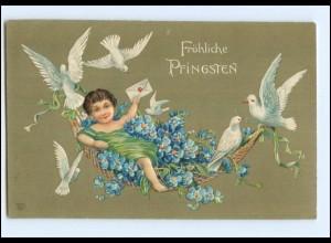 XX006578/ Pfingsten Mädchen Blumen Tauben ca.1910 Litho Prägedruck AK