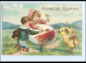 XX006567/ Ostern Kinder Osterei Küken ca.1910 Litho Prägedruck AK