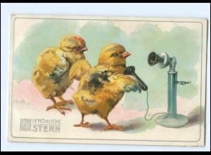 XX006566/ Ostern Küken Telefon 1912 Litho Prägedruck AK