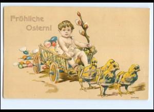XX006564/ Ostern Junge mit Küken 1905 Litho Prägedruck AK