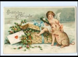 XX006770/ Neujahr Engel und Schwein Litho Prägedruck AK 1910
