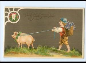XX006529/ Neujahr Kind Schwein 1910 Litho Prägedruck AK