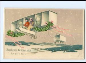 XX006771/ Frauen Flugzeug schöne Litho Prägedruck AK 1911