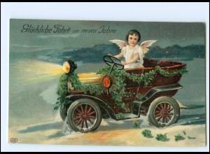 XX006527/ Neujahr Engel Auto 1910 Litho Prägedruck AK