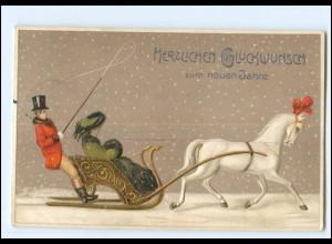 XX006772/ Neujahr Pferdeschlitten Litho Prägedruck AK 1909