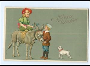 XX006525/ Neujahr Kinder Esel Hund 1914 Litho Prägedruck AK