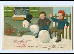 XX006524/ Neujahr Kinder Schneemann 1909 Litho Prägedruck AK