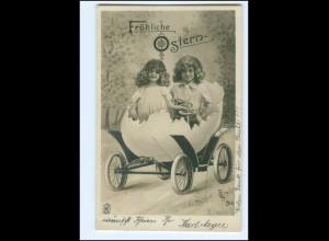 XX006774/ Ostern Mädchen im Ostereiauto Fotomontage Foto Ak 1904
