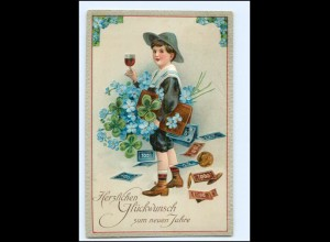 XX006719/ Neujahr Geldscheine Veilchen Litho Präge AK 1913