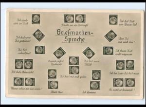 Y14388/ Briefmarken-Sprache Hindenburg-Marken Foto AK ca.1935