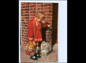 Y14399/ Mädchen mit Malteser Hund AK ca.1965