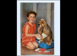 Y14393/ Mädchen mit Cocker Spaniel Hund AK ca.1965