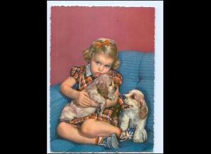 Y14396/ Mädchen mit Cocker Spaniel Hund AK ca.1965