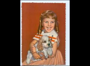 Y14397/ Mädchen mit Cocker Spaniel Hund AK ca.1965