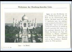 XX10187/ Agra - Taj Mahal Indien Dampfer Cleveland Hamburg Amerika-Linie AK 1912