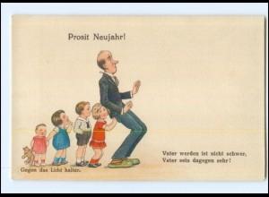 XX007170/ Neujahr Halt gegen Licht , Kinder Vater, Storch ca. 1930