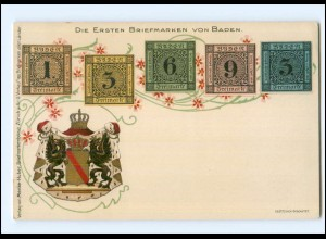 XX007401/ Briefmarken von Baden Wappen Litho AK ca.1900