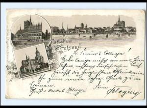 XX007200/ Gruß aus Stralsund Litho AK 1895 !