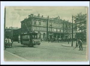 XX007531-091./ Chemnitz Hauptbahnhof Straßenbahn 1909 AK