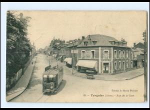 XX007765/ Frankreich Tergnier Rue de la Gare Straßenbahn AK