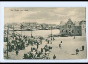 XX007756/ Lettland Der Hafen von Libau 1917 AK