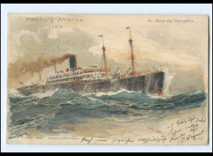 XX009128/ Dampfer Hamburg-Amerika-Linie Litho AK Hans Bohrdt 1908