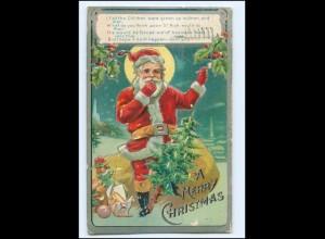 XX14786/ Christmas Weihnachten Weihnachtsmann Litho Präge AK 1908