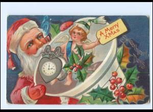 XX007696/ Weihnachtsmann Santa Claus Merry Christmas Litho Prägedruck AK ca.1910
