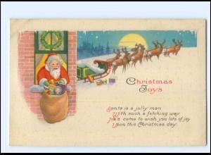 XX007695/ Weihnachtsmann Santa Claus Merry Christmas AK ca.1922 Rentiere