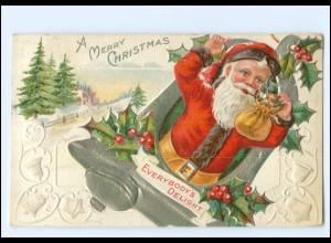 XX007692/ Weihnachtsmann Santa Claus Merry Christmas Litho Prägedruck AK 1911