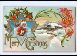 XX007691/ Weihnachtsmann Merry Christmas Litho Prägedruck AK ca.1910