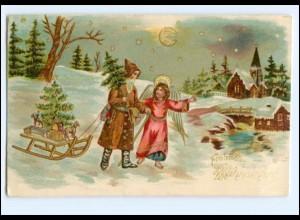XX007689/ Weihnachtsmann + Engel Litho Prägedruck AK ca.1900