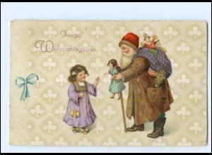 XX007686/ Weihnachtsmann Mädchen Puppe Litho AK 1918