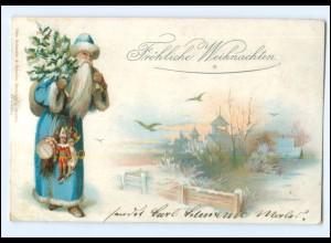 XX007684/ Weihnachtsmann schöne Litho Ak 1898 Weihnachten