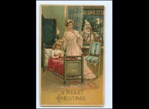 XX007680/ Weihnachtsmann Merry Christmas Litho Prägedruck AK 1912