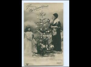 XX007679/ Weihnachtsmann Engel Tannenbaum Foto AK 1906