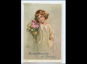 Y14525/ Namenstag Mädchen mit Blumen Künstler AK Jodolfi 1925