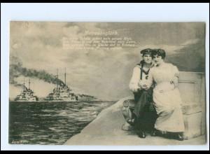 Y14521/ Marine Matrosenglück Kriegsschiffe 1. Weltkrieg AK 1917