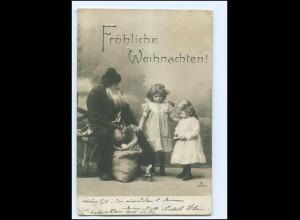 Y14544/ Weihnachten Weihnachtsmann mit Kindern Foto AK 1905