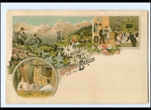 Y14535/ Gruß aus den Bergen schöne Litho AK 1897