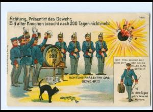 U9053/ Parole 200 Tage Militär Litho Ak ca.1912