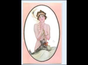 U9063/ Künstler Ak sign: Ney Erotik Frau mit Katze Jugendstil ca.1910