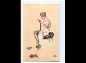 U9064/ Künstler Ak sign: G. Leonnec Erotik Frau mit Katze Jugendstil ca.1912